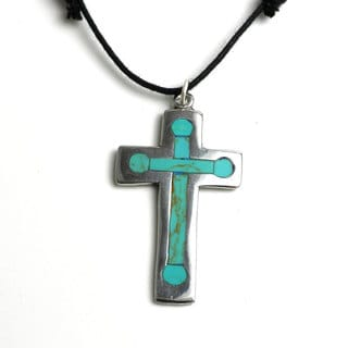 Handmade Silver Cross Pendant Necklace With Inlaid Turquoise (Mexico)