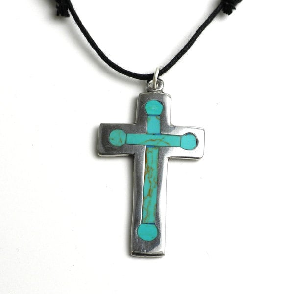 Handmade silver cross pendant necklace with inlaid turquoise mexico handmade silver cross pendant necklace with inlaid turquoise mexico aloadofball