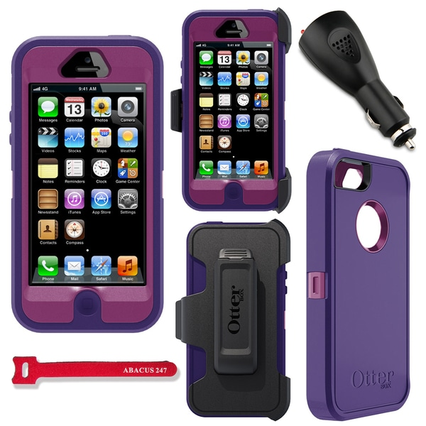 OtterBox Defender Series Protective Case Cover for Apple iPhone 5 - Boom/Purple + 2000mAh Car Charger + Velcro Tie