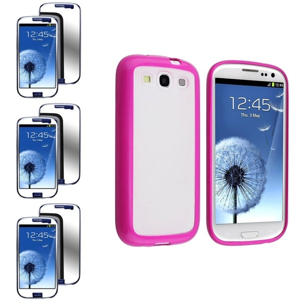 BasAcc Clear Case with Hot Pink Trim/Mirror Screen Protector for Samsung© Galaxy S3