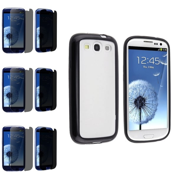 BasAcc Black Trimmed Case/Privacy Filter Screen Protector Set for Samsung Galaxy S3