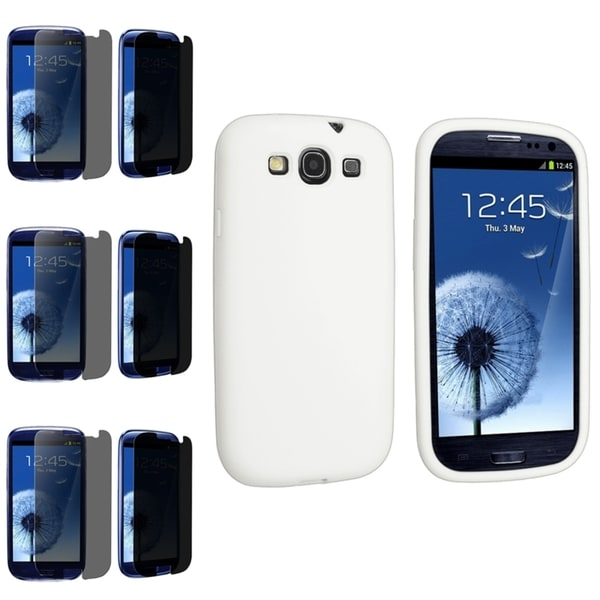 BasAcc White Silicone Case/Privacy Filter Screen Protector Set for Samsung Galaxy S3