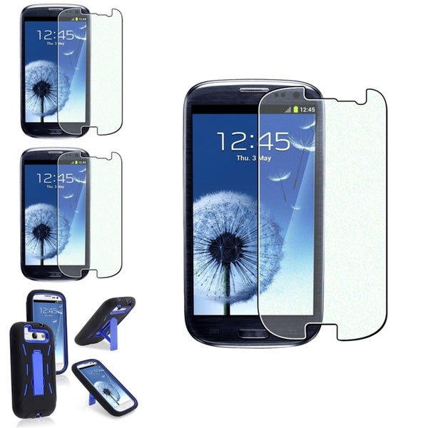 INSTEN Blue Hybrid Phone Case Cover/ Colorful Diamond Screen Protector Set for Samsung Galaxy S3