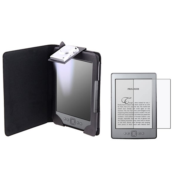 INSTEN Phone Case Cover with Light/ Anti-glare LCD Protector for Amazon Kindle 4