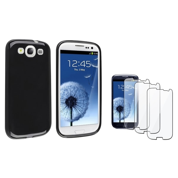 INSTEN Black TPU Phone Case Cover/ LCD Protector for Samsung Galaxy S3/ S III
