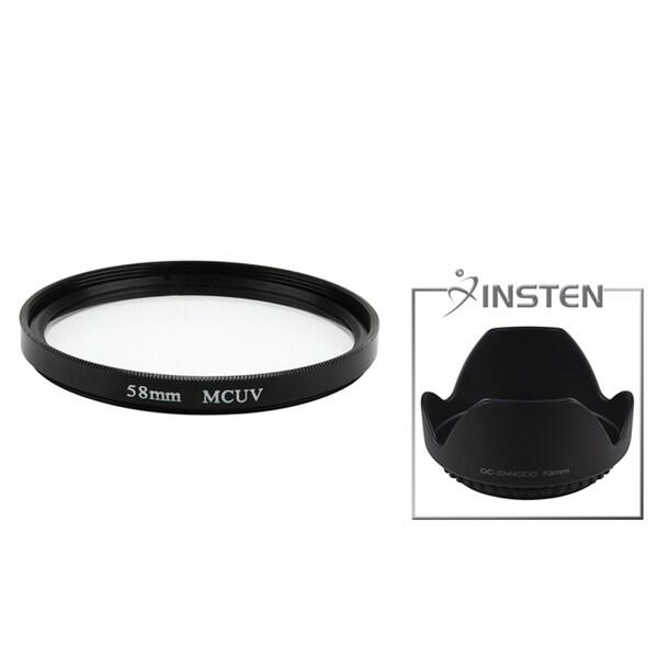 INSTEN 58-mm Multi-Coated UV Filter/ Lens Hood for Canon Rebel T3