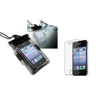 INSTEN Black Waterproof Bag/ LCD Protector for Apple iPhone 4/ 4S