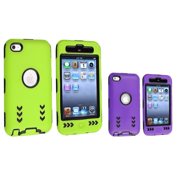 INSTEN Purple/ Green Hybrid iPod Case Cover Set for Apple iPod Touch Generation 4