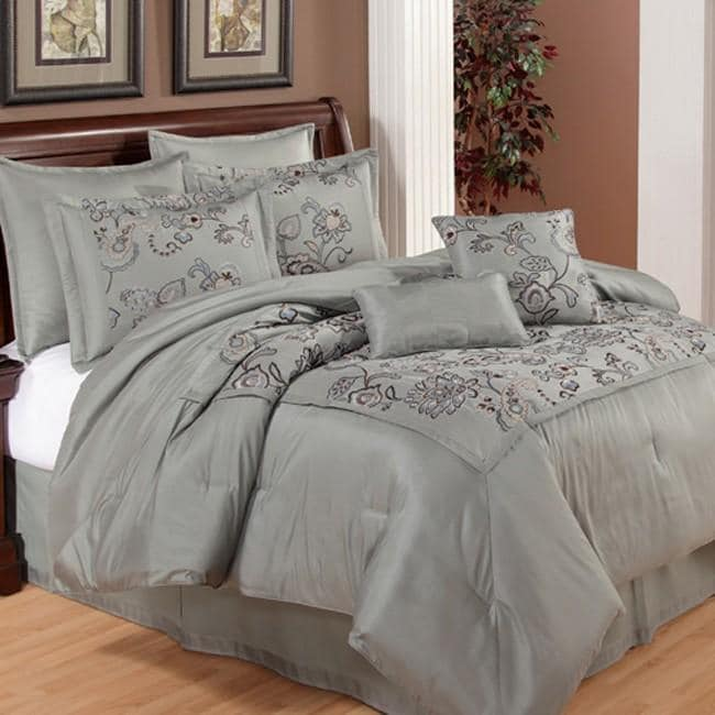 Silk Versailles Mercury 8-piece California King-size Comforter Set
