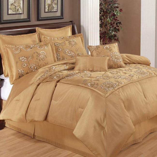 Silk Versailles Honey 8-piece California King-size Comforter Set