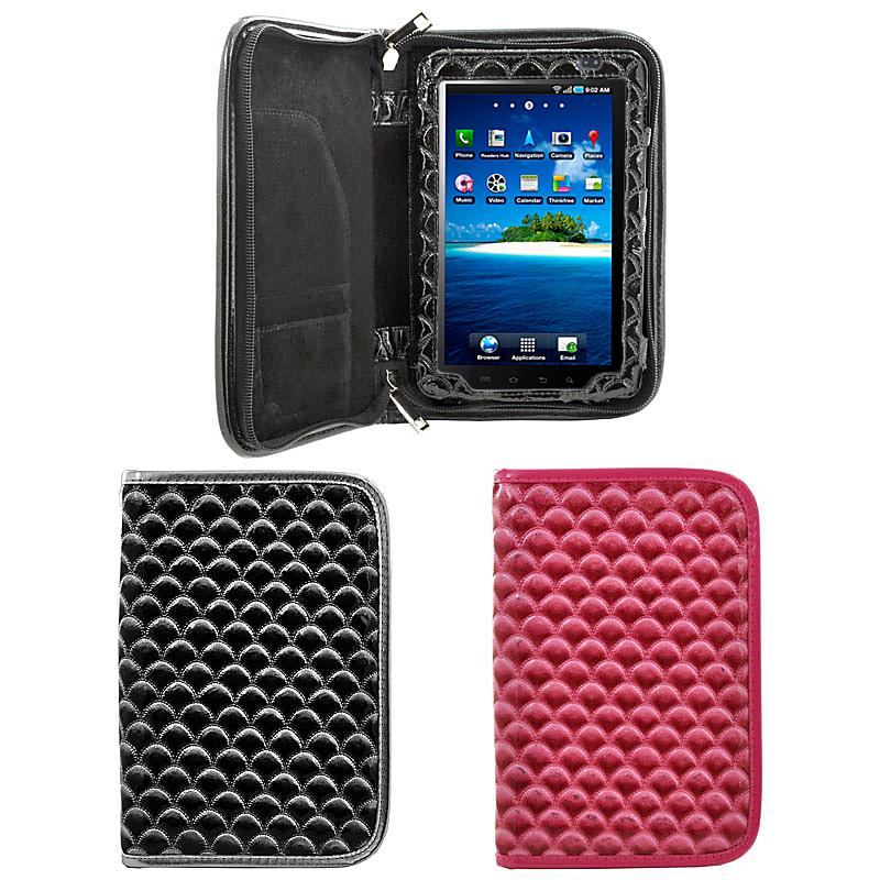 Scallop Patterned Leatherette Folio Zipper Case for Samsung Galaxy Tab
