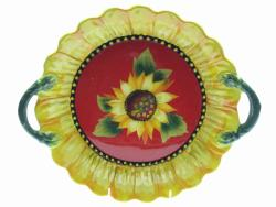 Certified International Sun Blossom 14x12-in 3-D Round Bowl with Handles - Thumbnail 2