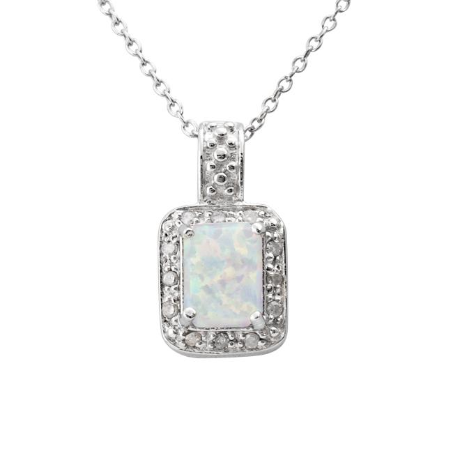 Sterling Silver Created Opal and 1/10ct TDW Diamond Necklace (J-K, I3)