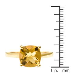 Thumbnail 3, 10k Yellow Gold Cushion-cut Citrine Solitaire Ring. Changes active main hero.
