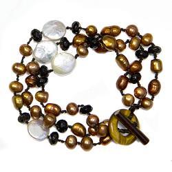 Adee Waiss Gold/ White Freshwater Pearl Bracelet (6-12 mm)