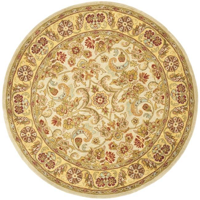 Safavieh Handmade Classic Grey/ Light Gold Wool Rug - 6' x 6' Round