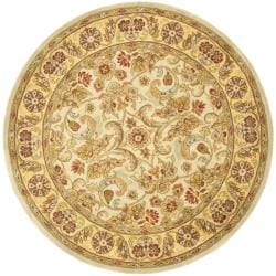 Safavieh Handmade Classic Grey/ Light Gold Wool Rug (3' 6 Round)