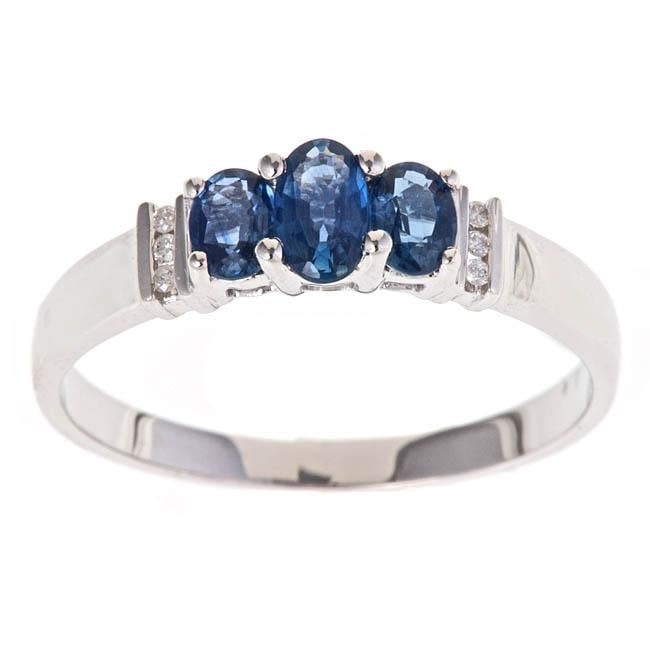 D'Yach 14k White Gold Blue Sapphire and Diamond Accent Fashion Ring