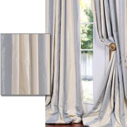 Thumbnail 1, Exclusive Fabrics Baby Blue/ Tan Striped Faux Silk Taffeta Curtain Panel.