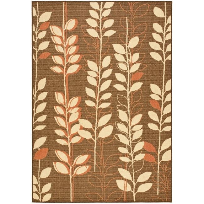 Safavieh Courtyard Foliage Brown/ Terracotta Indoor/ Outdoor Rug (8' x 11')
