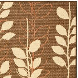 Safavieh Courtyard Foliage Brown/ Terracotta Indoor/ Outdoor Rug (8' x 11') - Thumbnail 1