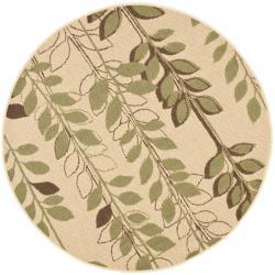 Safavieh Indoor/ Outdoor Natural/ Olive Rug (5'3 Round)