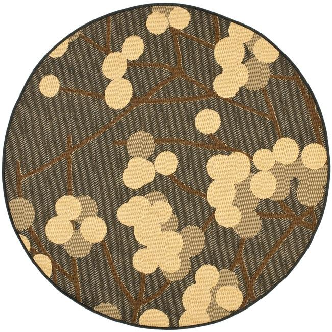 Safavieh Indoor/ Outdoor Black/ Brown Rug (67 Round)   13490676