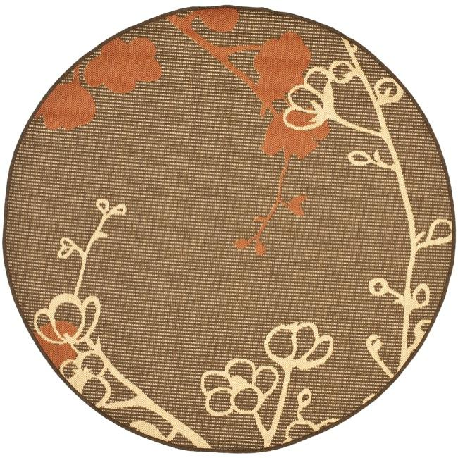 "Safavieh Courtyard Brown/ Terracotta Indoor/ Outdoor Rug - 5'3"" x 5'3"" round"