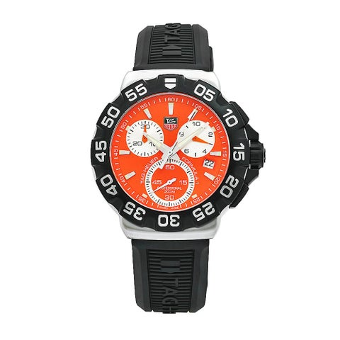 Tag Heuer Men's Formula 1 Black Rubber Orange Chronograph Dial Watch