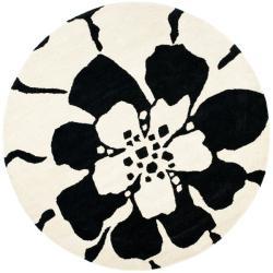 Safavieh Handmade Soho Modern Floral Black New Zealand Wool Rug (6' Round)