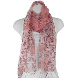 Hand-woven Silk Pink Butterfly in Rose Garden Scarf (India) - Thumbnail 1