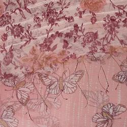 Hand-woven Silk Pink Butterfly in Rose Garden Scarf (India) - Thumbnail 2