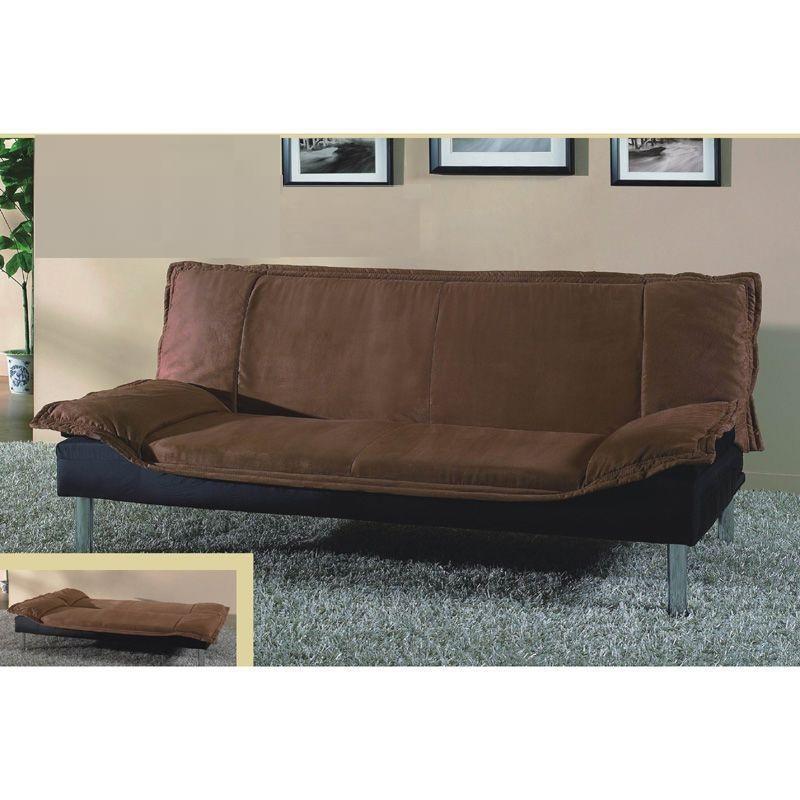 Brown Contemporary Microfiber Sleeper Futon Sofa Bed