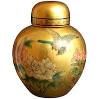 Handmade Porcelain 13-inch Gold Ginger Jar (China)