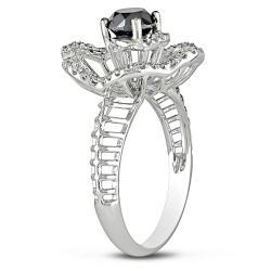 Miadora 14k White Gold 1 1/4ct TDW Black and White Diamond Ring - Thumbnail 1