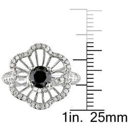 Miadora 14k White Gold 1 1/4ct TDW Black and White Diamond Ring - Thumbnail 2