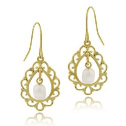 Mondevio 10k Yellow Gold Freshwater Pearl Dangle Earrings (2-3 mm)