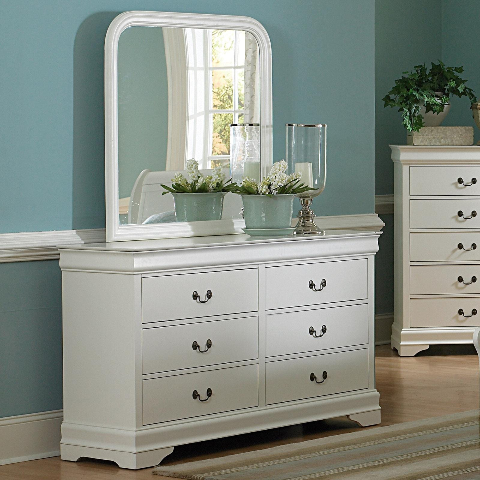 alfie white 6 drawer dresser with mirror free shipping today 13497315. Black Bedroom Furniture Sets. Home Design Ideas