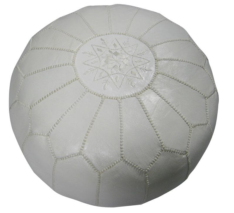 Leather White Pouf Ottoman (Morocco) - Thumbnail 0