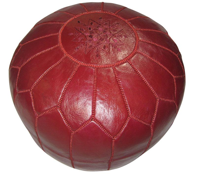 Leather Burgundy Pouf Ottoman (Morocco) - Thumbnail 0