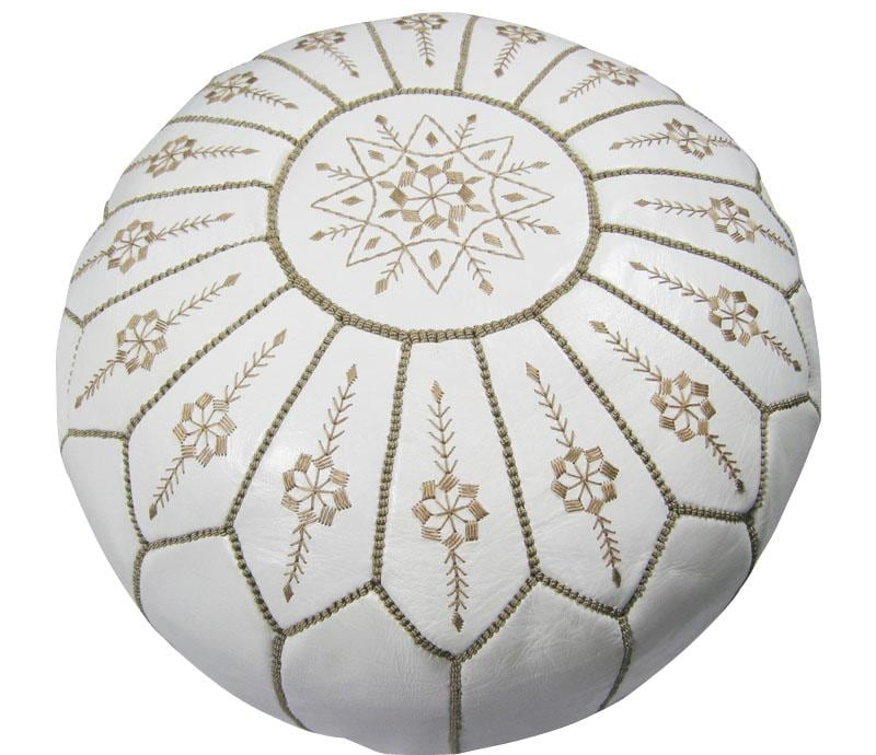 Leather White Jasmine Pouf Ottoman (Morocco) - Thumbnail 0