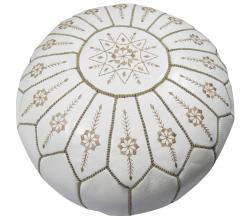 Handmade Leather White Jasmine Pouf Ottoman (Morocco) - Thumbnail 0