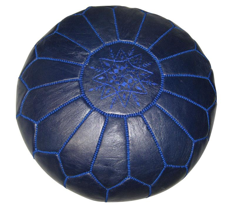 Leather Navy Blue Pouf Ottoman (Morocco)