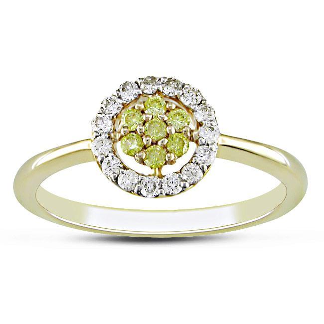 14k Yellow Gold 1/4ct TDW Yellow and White Diamond Ring