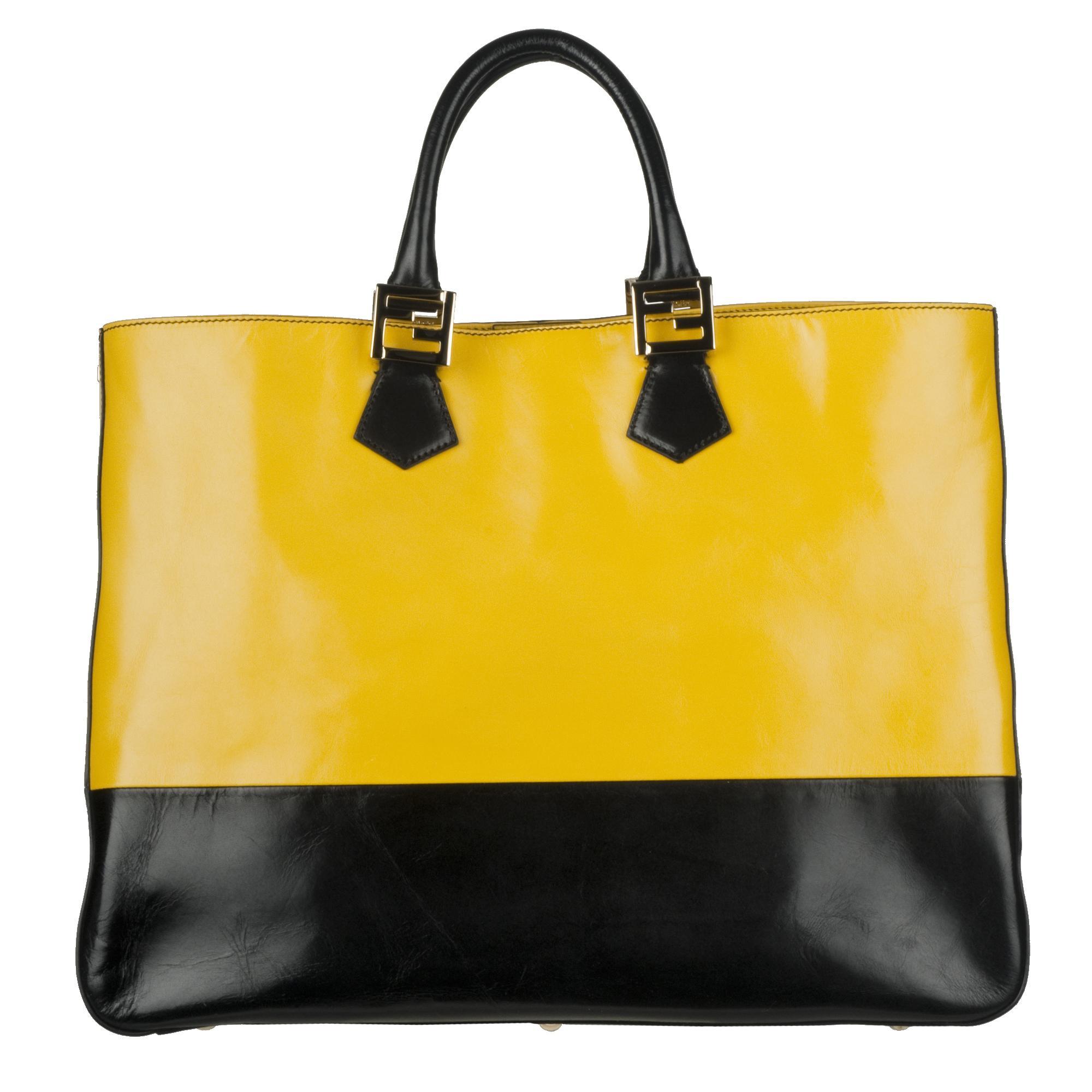 ... good fendi twins yellow leather tote bag 42ed0 fcbc2 7484359d0cc7e