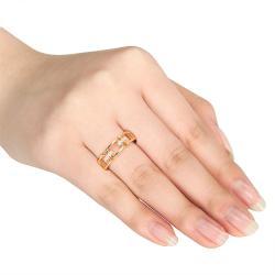 Miadora Yellow Silver Diamond Accent Link-style  Ring - Thumbnail 2