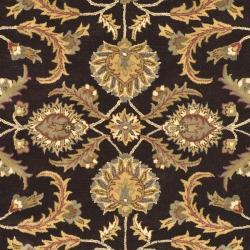 Safavieh Handmade Heritage Traditional Kerman Brown/ Ivory Wool Rug (7'6 x 9'6) - Thumbnail 2