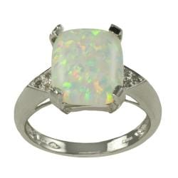 Gems for You 10k White Gold Created Opal and Diamond Accent Ring