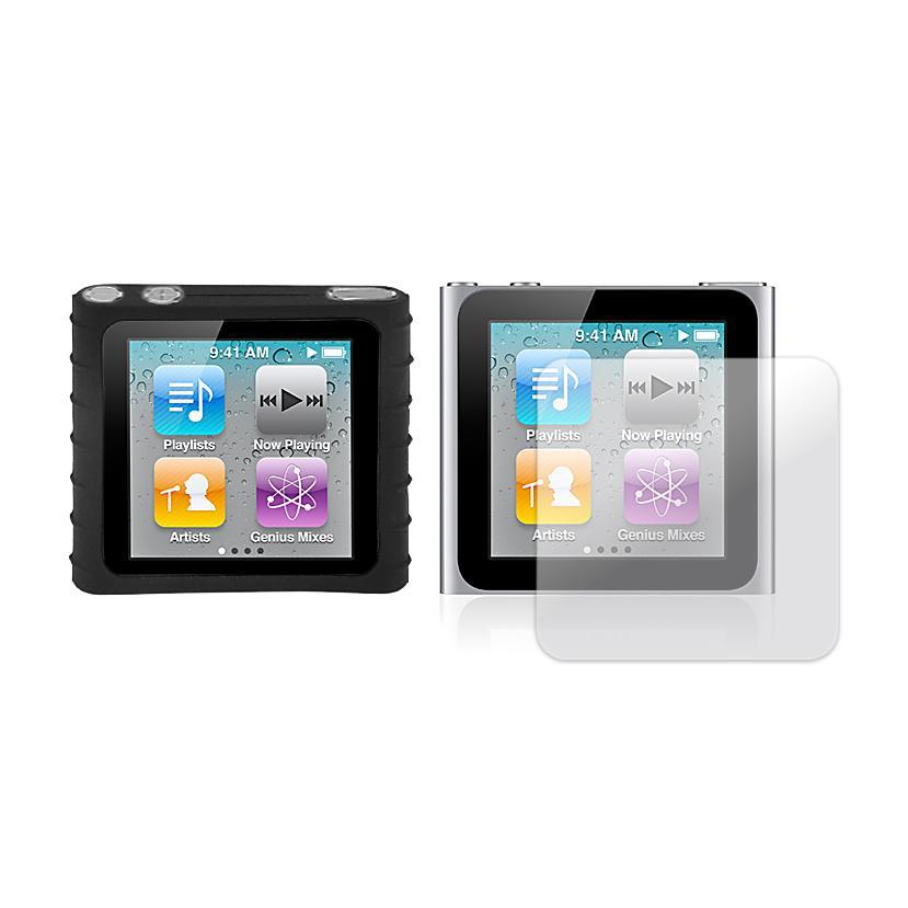 Premium Apple iPod Nano 6th Gen Black Silicon Case and Screen Protector
