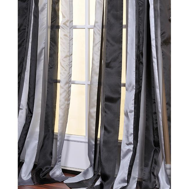 Curtains Ideas black sheer curtain : Exclusive Fabrics Black and Grey Striped 84-inch Sheer Curtain ...